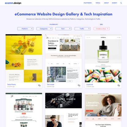 eCommerce Website Design: Gallery & Tech Inspiration with 2000+ Shops