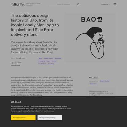 The delicious design history of Bao, from its iconic Lonely Man logo to its pixelated Rice Error delivery menu