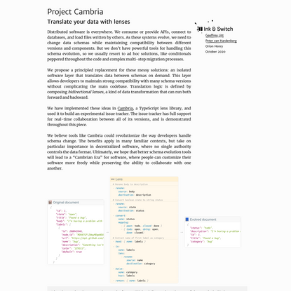 Project Cambria: Translate your data with lenses