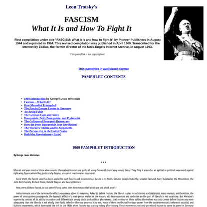 LEON TROTSKY: Fascism: What it is and how to fight it