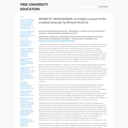 """REVIEW OF """"WHACKADEMIA. An insider's account of the troubled university"""" by Richard Hil (2012) - FREE UNIVERSITY EDUCATION"""