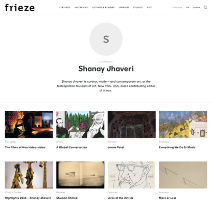 Shanay Jhaveri | Contributors | Frieze