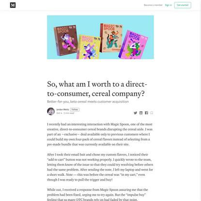 So, what am I worth to a direct-to-consumer, cereal company?