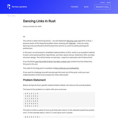 Dancing Links In Rust