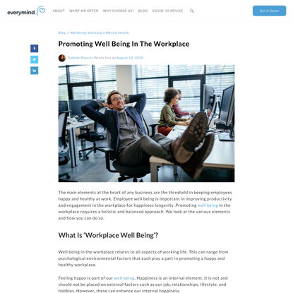 Promoting Well Being In The Workplace | Everymind