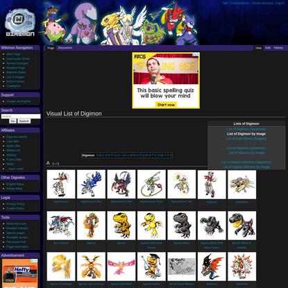 Visual List of Digimon