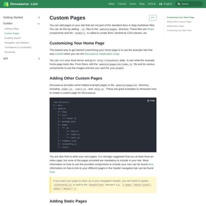 Custom Pages · Docusaurus
