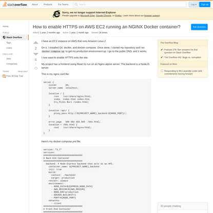 How to enable HTTPS on AWS EC2 running an NGINX Docker container?