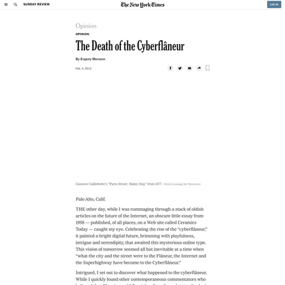 Opinion | The Death of the Cyberflâneur (Published 2012)
