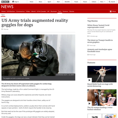 US Army trials augmented reality goggles for dogs