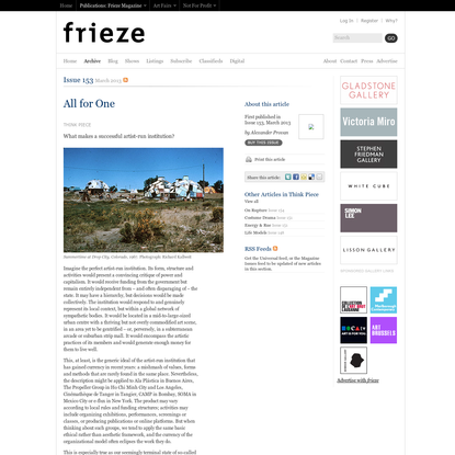 Frieze Magazine   Archive   All for One