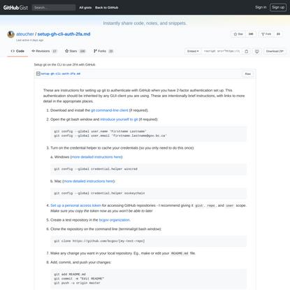 Setup git on the CLI to use 2FA with GitHub