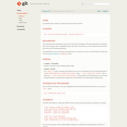 Git - git-credential-cache Documentation