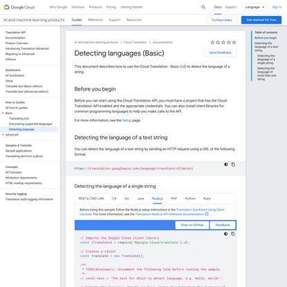 Detecting languages (Basic)   Cloud Translation   Google Cloud