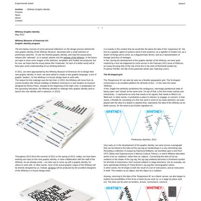Experimental Jetset - Whitney Graphic Identity