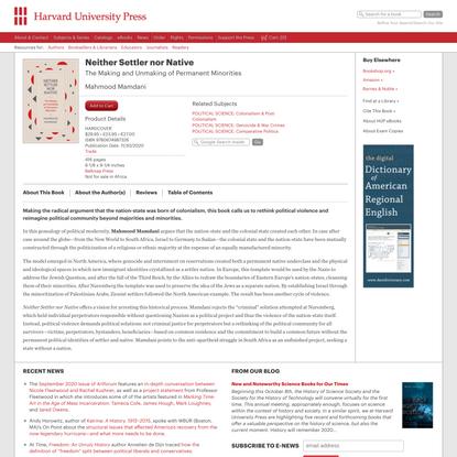 Neither Settler nor Native — Mahmood Mamdani | Harvard University Press