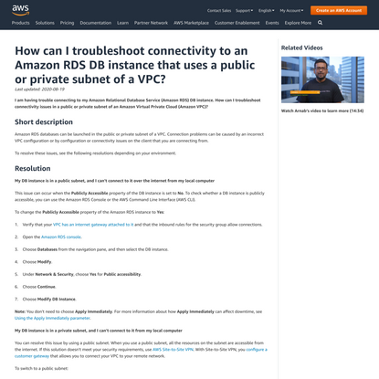 Troubleshoot connectivity to an Amazon RDS instance using the public or private subnet of a VPC
