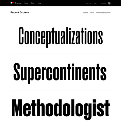 Recent Grotesk font family – Fonts, Process Type Foundry