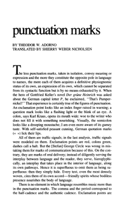 """Punctuation Marks,"" Theodor Adorno"