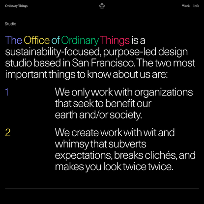 Studio → Ordinary Things | Sustainable Branding & Design Studio