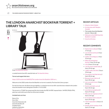 The London Anarchist Bookfair torrent + library talk | anarchistnews.org