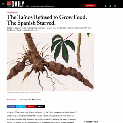 The Taínos Refused to Grow Food. The Spanish Starved. | JSTOR Daily