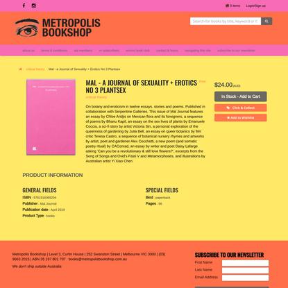 Mal - a Journal of Sexuality + Erotics No 3 Plantsex