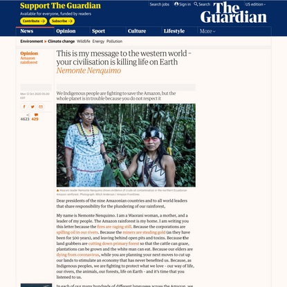 This is my message to the western world – your civilisation is killing life on Earth | Amazon rainforest | The Guardian