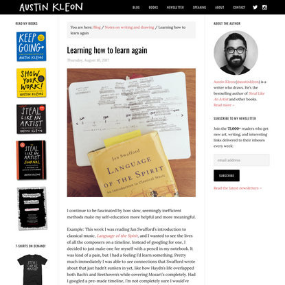 Learning how to learn again - Austin Kleon