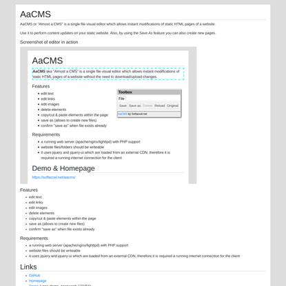 Almost a CMS - update static websites on the fly