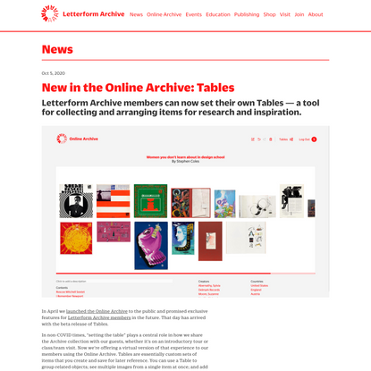 New in the Online Archive: Tables