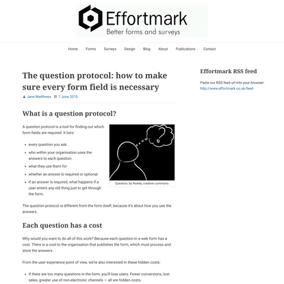 The question protocol: how to make sure every form field is necessary - Effortmark