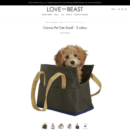 Canvas Pet Tote Small - 5 colors