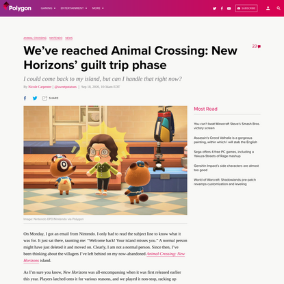 We've reached Animal Crossing: New Horizons' guilt trip phase