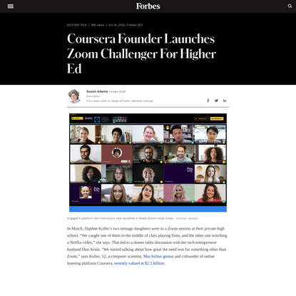 Coursera Founder Launches Zoom Challenger For Higher Ed