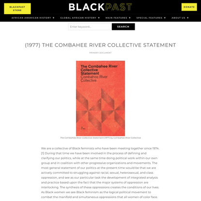 (1977) The Combahee River Collective Statement