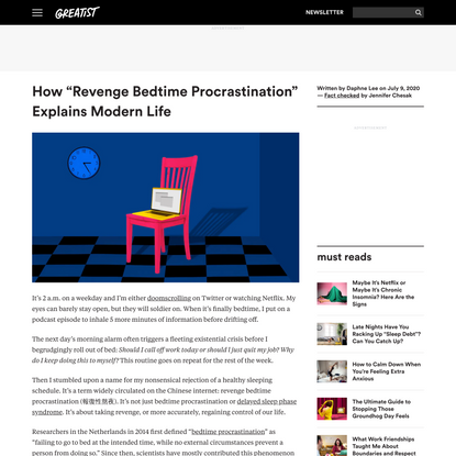 "How ""Revenge Bedtime Procrastination"" Explains Modern Life Woes"