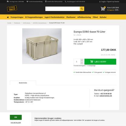 Lysegrå Europa EURO-kasse 70 Liter fra Nordcontenitori Sas