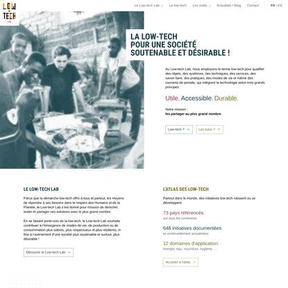 Le Low-tech Lab partage les solutions et l'esprit low-tech. – Accueil