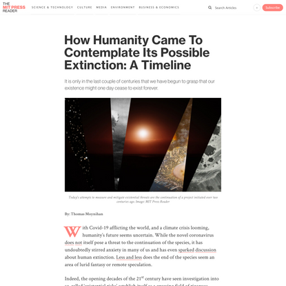 How Humanity Came To Contemplate Its Possible Extinction: A Timeline