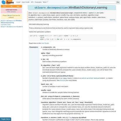 sklearn.decomposition.MiniBatchDictionaryLearning — scikit-learn 0.23.2 documentation
