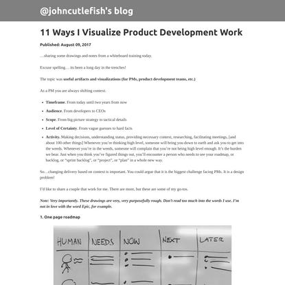 11 Ways I Visualize Product Development Work