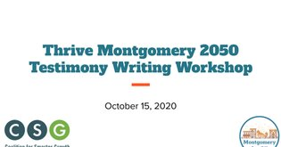 Montgomery for All Oct Meeting - Testimony Workshop