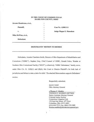 Mike DeWine's Motion to Dismiss Jerome Henderson's Civil Suit.pdf