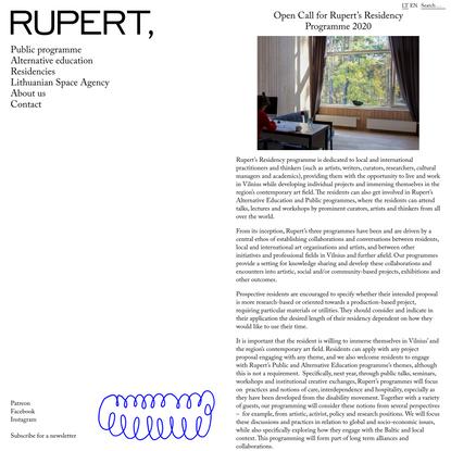 Open Call for Rupert's Residency Programme 2020 – Rupert