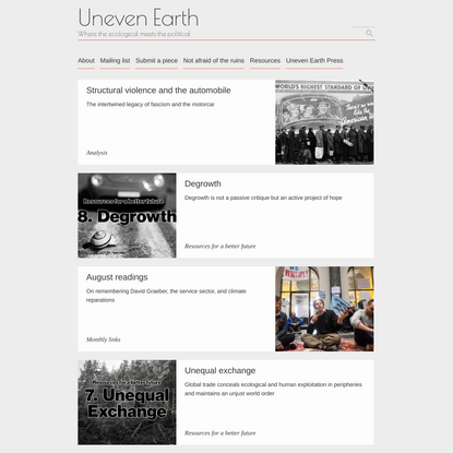 Uneven Earth – Where the ecological meets the political