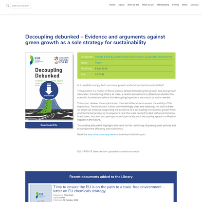 Decoupling debunked – Evidence and arguments against green growth as a sole strategy for sustainability