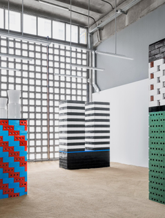 "Nathalie Du Pasquier, installation view of ""BRIC,"" Mutina, Modena, Italy (2019–20)"