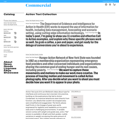Commercial Type » Catalog » Action Text Collection