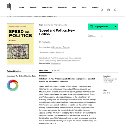Speed and Politics, New Edition